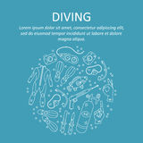 Vector card with diving equipment. Stock Photos