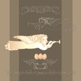 Vector card with Easter egg, angel and vintage decorative elements Royalty Free Stock Photography