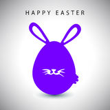 Vector card of easter violet rabbit egg with whisker Stock Images
