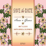 Vector card with eglantine. Vector wedding invitation with eglantine. Vector card with briar (brier). Vintage vector card template. Save the date invitation at Stock Photos