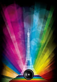 Vector card with eiffel tower Stock Images