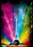 Vector card with eiffel tower and neon lights Stock Photo