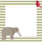 Vector card with elephant and parrot Royalty Free Stock Photography