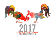 Vector card with fire cocks in watercolor and text Happy New Yea. R 2017. Chinese calendar Zodiac for 2017 New Year of rooster. Editable  elements Stock Image