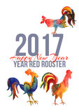 Vector card with fire cocks in watercolor and text Happy New Year. 2017. Chinese calendar Zodiac for 2017 New Year of rooster. Editable isolated elements Stock Photos