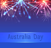 Vector card with fireworks  on Australia Day. Vector card with fireworks and congratulations on Australia Day Royalty Free Stock Images