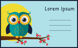 Vector card with flat owl. Stock Images