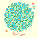 Vector card with floral bouquet and text Thank you Stock Photography