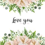 Vector card floral Flower Bouquet design with Peach, pink powder. Peony, wax flowers eucalyptus, green fern leaf, berry herbal mix. Greeting cute elegant Royalty Free Stock Image