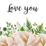 Vector card floral Flower Bouquet design with Peach, pink rose P. Eony, wax flowers eucalyptus, green fern leaf, berry herbal mix. Greeting cute elegant template Stock Image