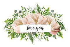 VVector card floral Flower Bouquet design with Peach, pink rose. Vector card floral Flower Bouquet design with Peach, pink rose Peony, wax eucalyptus green fern Stock Photos
