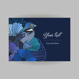 Vector card with floral postcard. Romantic vintage postcard, abstract blue flowers and a bird with the contours on dark background, greetings for birthday Stock Photos
