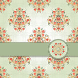 Vector card with floral symmetrical elements Royalty Free Stock Images