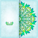 Vector card with floral symmetrical ornament Stock Photo