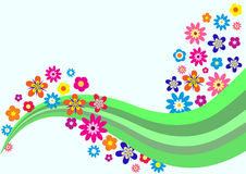 Vector card with flowers. Colorful trendy background with beautiful flowers, vector illustration Royalty Free Stock Photos