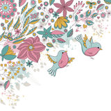 Vector card with flowers and birds Stock Image