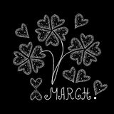 Vector card with flowers made of hearts, congratulations with March, 8th. Decorative vector pattern Stock Image