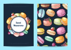Vector card, flyer or brochure for sweet or pastry shop with colored hand drawn macaroons. Vector card, flyer or brochure template for sweet or pastry shop with Stock Photography