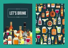 Alcohol bar card stock vector illustration of inscription 116212551 vector card flyer or brochure template for bar pub or liquor store with alcoholic reheart Images