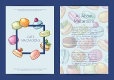 Vector card, flyer or brochure template for sweet or pastry shop with colored hand drawn macaroons vector illustration