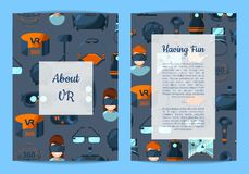 Vector card, flyer or brochure template VR. Vector card, flyer or brochure template for VR gadgets shop or amusement park with flat style virtual reality Royalty Free Illustration