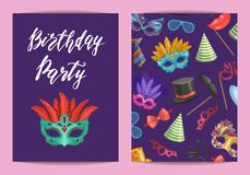 Vector card or flyer template with masks and party accessories. With place for text illustration Stock Image