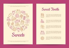 Vector card or flyer template for pastry or confectionary shop with linear style sweets icons. Sweet pastry banner, cream and cake illustration Stock Photos