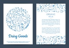 Vector card or flyer template with place for text and hand drawn dairy. Elements on white background illustration Royalty Free Stock Image