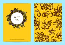 Vector card or flyer template with hand drawn olive branches. Vector card or flyer template with place for text for oil company with hand drawn olive branches Royalty Free Stock Photo