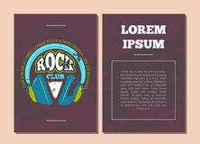 Vector card flyer template with retro rock music club. Vector card flyer template with shabby retro rock music club, shop logo, badge with headphones royalty free illustration