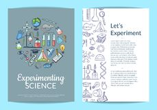 Vector card or flyer template with sketched science or chemistry elements on plain background and place for text. Chemistry science flyer banner , research Stock Images