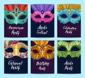 Vector card or flyer templates set with carnival masks illustration. Vector card or flyer templates set with carnival masks with place for text illustration royalty free illustration
