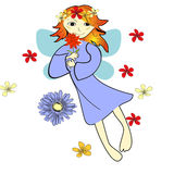 Vector card with flying fairy and flowers Royalty Free Stock Image