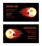 Vector Card Football Ball with fire. Template for Football Club and Sports Betting Royalty Free Stock Photo