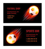 Vector Card Football Ball with fire. Template for Football Shop and Sports Bar Royalty Free Stock Photography