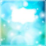 Vector card with frame on blue bokeh background. Stock Photos