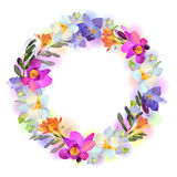 Vector card with freesia flowers garland. Vector greeting or invitation card with beautiful pictorial freesia flowers in the round garland on the white royalty free illustration