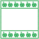 Vector card with fruits. Empty square form with ornamental apples and border with dots. Decorative frame. Series of Cards, Blanks Stock Image