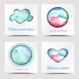 Vector Card Funny. Set colorful funny card. Vector design pink and blue card. Art advertising template. Trendy holiday card. Baby white card. Paper card Vector Illustration