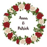 Vector card with garden white and red roses and tulip flowers on white background. Romantic design for natural cosmetics Stock Images