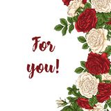 Vector card with garden white and red roses and tulip flowers on white background. Romantic design for natural cosmetics Stock Photo