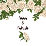 Vector card with garden white and red roses and tulip flowers on white background. Romantic design for natural cosmetics Royalty Free Stock Photos