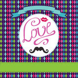 Vector card  with geometric background.Inscription Love,lips,mou Stock Photography