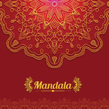 Vector card with glow mandala.  Royalty Free Stock Photo