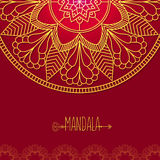 Vector card with glow mandala. Vector background. Ethnic decorat Royalty Free Stock Photos
