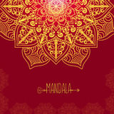 Vector card with glow mandala. Vector background. Ethnic decorat Royalty Free Stock Images
