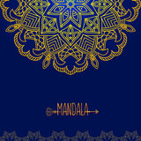 Vector card with glow mandala. Vector background. Ethnic decorat Royalty Free Stock Photography