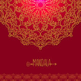 Vector card with glow mandala. Vector background. Ethnic decorat Royalty Free Stock Image