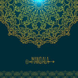 Vector card with glow mandala. Vector background. Ethnic decorat Stock Photography