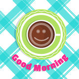 Vector card Good morning. A cup of coffee on the table - top view Royalty Free Stock Images